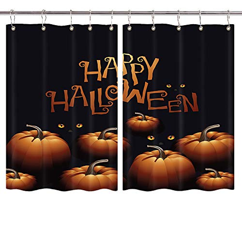 (Spooky Hippie Halloween Festive Window Curtains, Happy Halloween Pumpkins and Black Cats Eye Window Drapes, Home Decor Draperies for Kitchen Bedroom Window Treatment with Hooks, 55X39inch, 2PC)