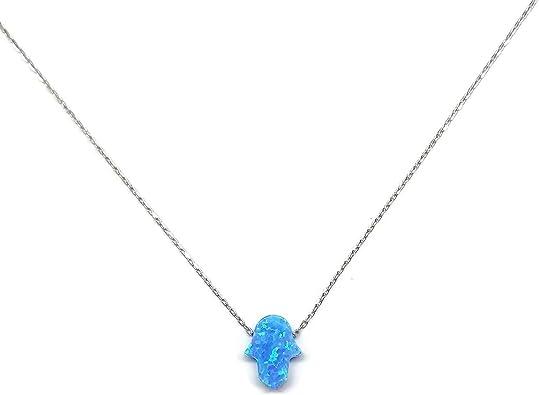 Mystic Jewels By Dalia Collier avec pendentif en forme de main de Fatma en argent sterling 925 et opale synth/étique Longueur 40 cm 5 cm r/églable