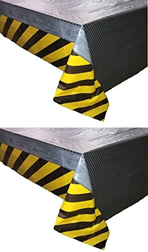 2 Pack Construction Zone All Over Print Birthday Plastic Table Cover, 54 x 108, Yellow/Black/Gray -