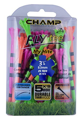 Champ 86513 Zarma Flytee My Hite 3-1/4″ 25 Count Citrus Mix with Black Stripes Golf Tees