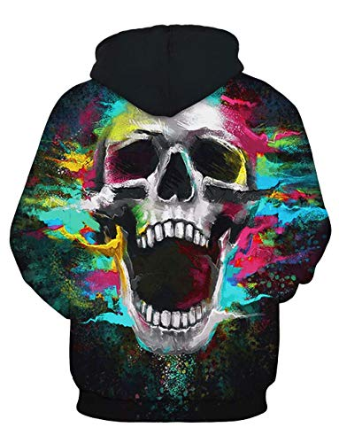 Prints Hoodie Sweats Yimiao À Patterned Crâne Coloré D'impression Unisex Personnalité Pull 3d Sweatshirt Multicolore Capuche 8qCgw