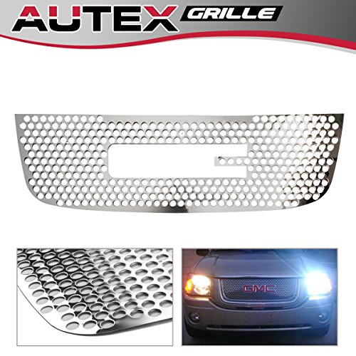 AUTEX G45145O Stainless Steel Main Upper Polished Round Punch Grille Grill Insert Compatible With GMC Envoy 2001 2002 2003 2004 2005 2006 2007 2008 2009 Grill