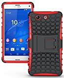 NAKEDCELLPHONE RED GRENADE GRIP RUGGED TPU SKIN HARD CASE COVER STAND FOR SONY XPERIA Z3 COMPACT MINI PHONE (Z3 Mini, D5833, D5803, Experia, Unlocked)
