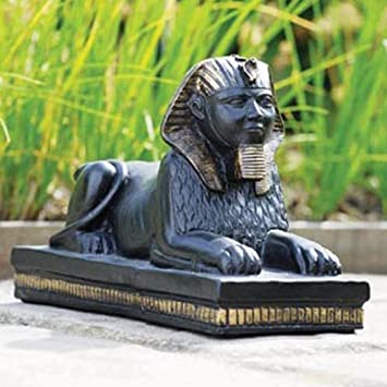 Sphinx   Egyptian Garden Sculpture / Ornament   Weathered Black