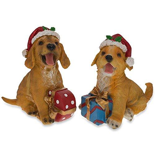 BestPysanky Set of 2 Golden Retriever Puppies in Santa Hats Figurines 5.75 Inches ()