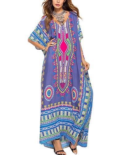 Women Purple Kaftan Maxi Dress Half Sleeve Beach Dress Bikini Long Cover Up