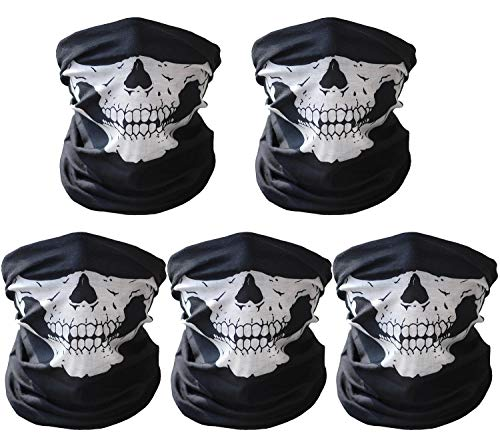 (CandyHome 5 Pcs Motorcycle Face Mask, Windproof Seamless Tube Half Face Mask for Bike Riding Fishing Hiking)