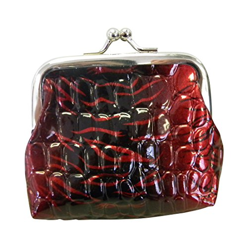 Red Coin Purse with Crocodile Leather Look and Snap Closure (Motique Accessories) (Crocodile Look Leather)