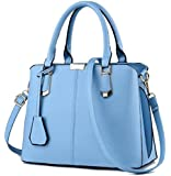 TianHengYi Womens Candy Colors Faux Leather Top-handle Handbag Shoulder Bag with Removable Long Strap