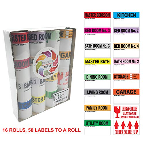 Infi-Touch Moving Labels -800 Color Coded 16 Rolls - 50 Labels Par Roll - with Fragile Stickers |2.5