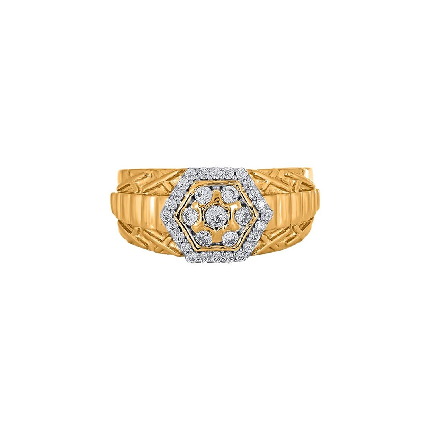 Menz by Gitanjali 14KT Yellow Gold and Diamond Ring for Men ...