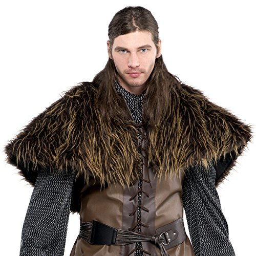 (AMSCAN Medieval Furry Shoulder Cape Halloween Costume Accessories for Adults, One Size,)