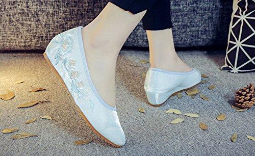 Avacostume Damesschoenen Borduurwerk Zachte Zool Casual Loafer Walking Wedges Lichtblauw