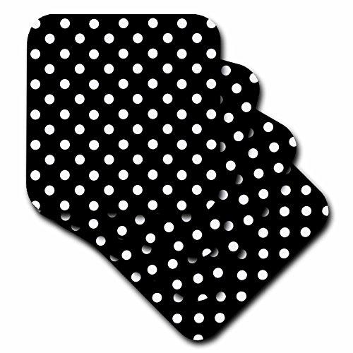- 3dRose LLC Black and White Polka Dot Print Coaster, Soft, Set of 8