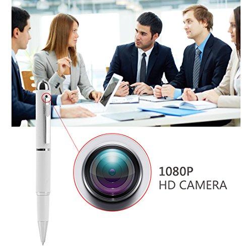 Mini Camera,Real Full HD 1080P Nanny Hidden Spy Pen Cam Home Convert Security Camera Roller Ball -White by GIZGA