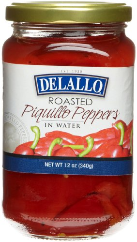 DeLallo Roasted Piquillo Peppers, 12-Ounce Jars (Pack of 12)
