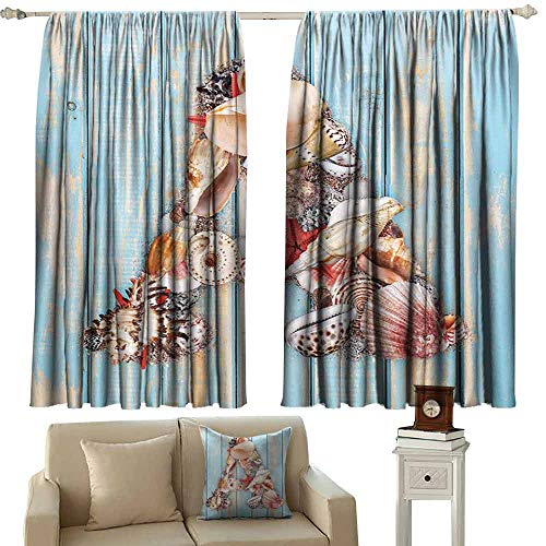 - DUCKIL Decor Curtains Letter A Letter A with Seashells on Pale Wooden Board Invertebrates Animal Noise Reducing Curtain W63 xL72 Pale Blue Ivory Dark Coral