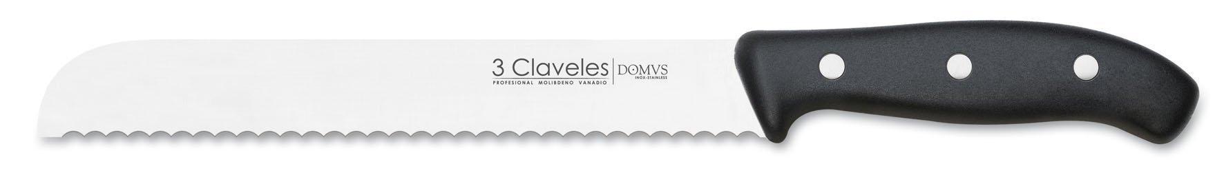 3 Claveles - Cuchillo Cocina para Pan, Línea DOMVS, Acero Inoxidable, Mango Polipropileno Negro - (20cm) product image