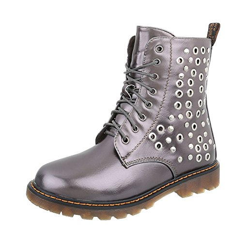 Ital-Design Women's Boots Block Heel Lace-Up Ankle Boots at Grey Silver W323 IrgYIwWT