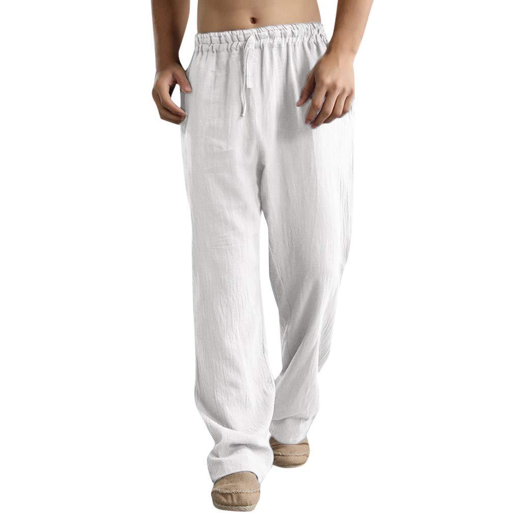 Mens Sweatpants, F_Gotal Men's Casual Plain Linen Elastic Waist Sports Running Jogger Pants Trouser with Pockets White
