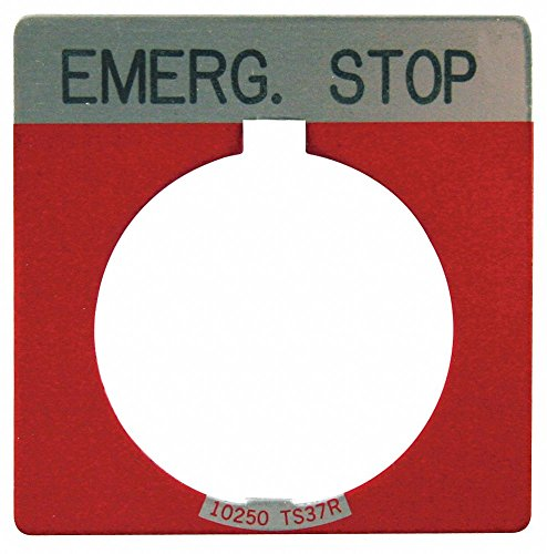 Eaton 30mm Square Emergency Stop Legend Plate, Aluminum, Red
