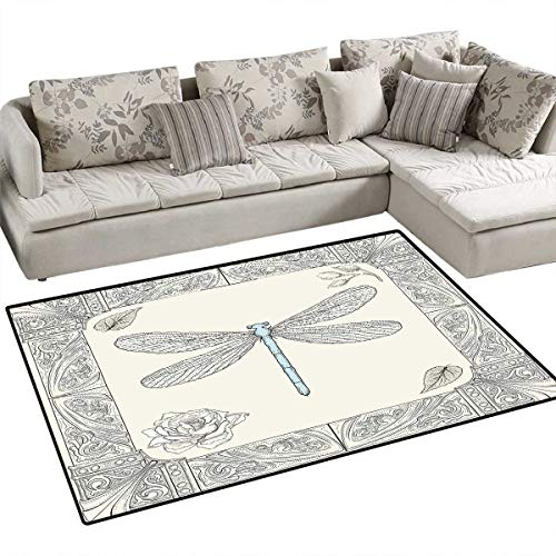 Dragonfly Girls Bedroom Rug Hand Drawn Royal Ancient Style Rose Petals Leaves and Ornate Figures Design Door Mat Indoors Bathroom Mats Non Slip 36