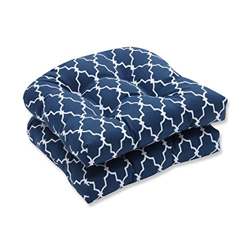 Pillow Perfect Outdoor/Indoor Garden Gate Wicker Seat Cushion (Set of 2), Navy (Chair Contour Cushion)