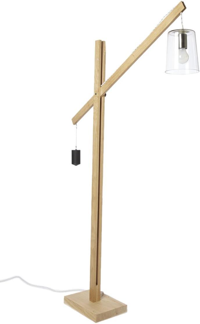 Dalainor Lámpara de pie E14, 11 W, color madera natural