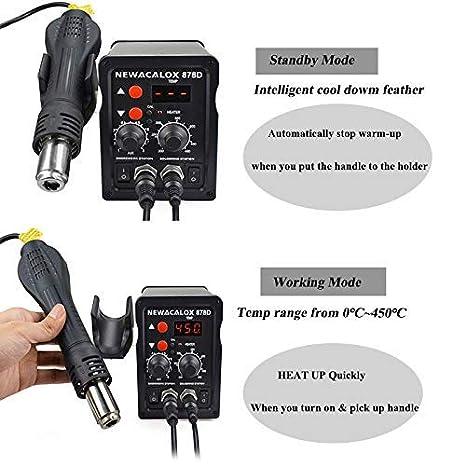 Estacion de soldadura,NEWACALOX 2 en 1 estacion soldadura 700W electronica Kit del Soldador Digital con Pistola de Aire Caliente: Amazon.es: Bricolaje y ...