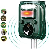 FAYINWBO Solar Powered Ultrasonic Outdoor Animal and Pest Repeller with Motion Sensor and Red Flashing Lights,Waterproof Pest Repeller Repels Squirrel,Cat,Dog,Raccoon,Rabbit,Bird etc.