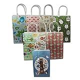 "130 Pieces 8.3""x5.1''x3.1''(21138cm) Birdie Tree Pattern Printing Kraft Paper Bags Gift Handbag Fashion Design Paper Shopping Bags with Handbags"