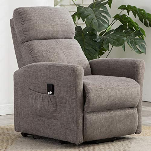 ANJ Power Lift Recliner Chair for Elderly with Remote Control and Side Pocket, Heavy Duty Reclining Sofa Soft Fabric Living Room Chair with Plush Padding Seat Grey