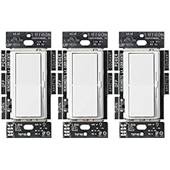 lutron diva c l dimmer for dimmable led, halogen and incandescent bulbs,  single-pole or 3-way (3 pack), dvcl-153p-wh, white