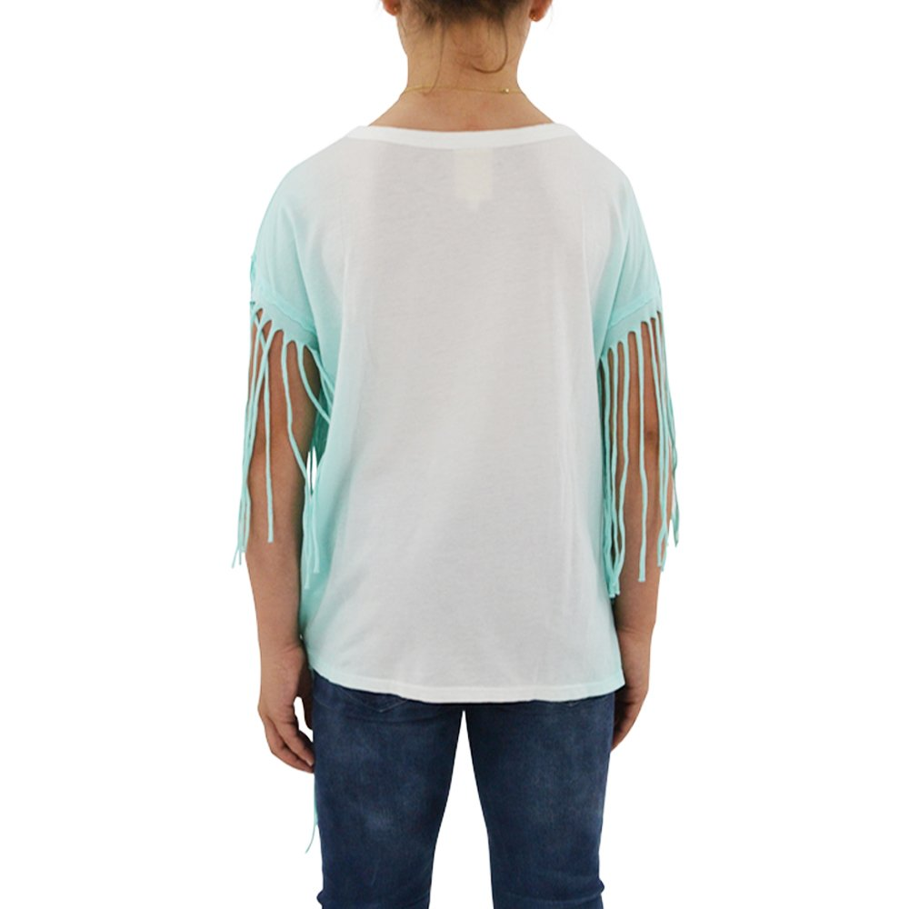 Weekend Vibes Girls Jersey Fringe Tee in Mint Ombre