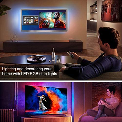 Led Strip Lights, 32.8 feet Color Changing Light Strip Kit with Remote and Control Box, Led Lights for Bedroom, 5050 Led Lights, Easy Installation