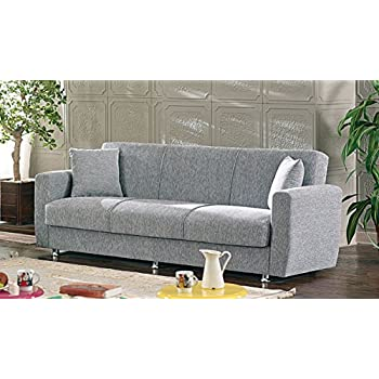 BEYAN Niagara Collection Modern Fold Out Convertible Sofa Bed Sleeper With  Storage Space, Includes 2 Pillows, Gray