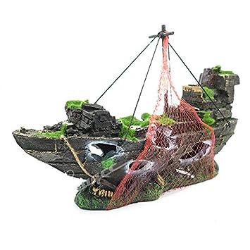 Aquatic Planet Adorno para Acuario de Acuario de Acuario, pecera de naufragio, decoración: Amazon.es: Productos para mascotas