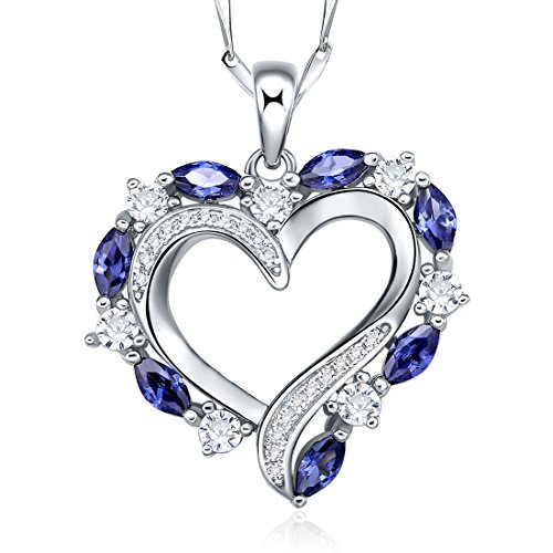 Merthus 925 Sterling Silver Tanzanite Heart Shape Pendant Necklace,18