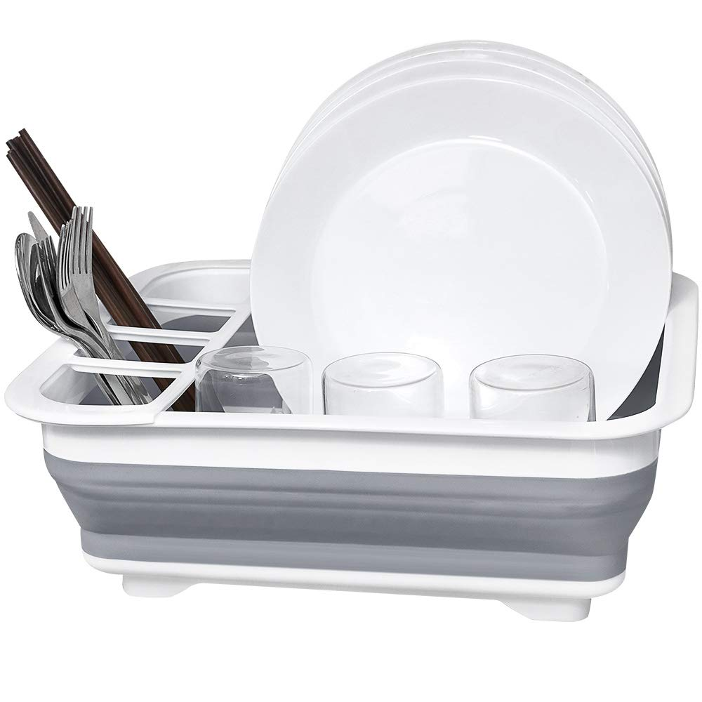 Dish Drying Drainer, Collapsible Dish Rack, Dish Drainer, Learja Compact Dish Drainer for Small Kitchen, Camper, RV, Caravan, Travel Trailer(Gray and White)