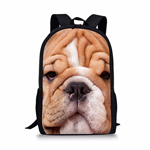 Showudesigns Cool Animal Bulldog Backpack for Kids Fashionable Kids Bagpack