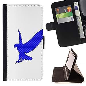 DEVIL CASE - FOR HTC Desire 820 - Eagle Hawk Logo White Clean Blue - Style PU Leather Case Wallet Flip Stand Flap Closure Cover