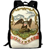 ZQBAAD Illinois State Coat Of Arms Luxury Print Men And Women's Travel Knapsack