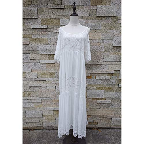Tunica De Bianco Dress Robe Costume Guoqunup Long Patchwork Cotone Da nbsp;pizzo Pizzo Spiaggia Coprispalle Beach Sarong Plage Gonna Coprire Bagno nSxqH4R