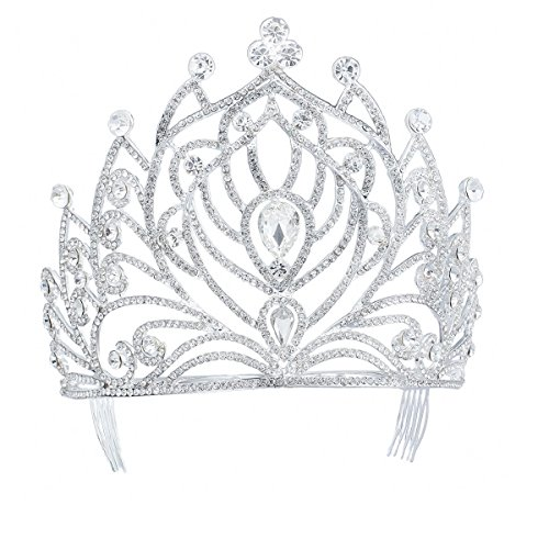 Eseres Tall Pageant Tiaras with Combs for Women Crystal Wedding Crowns