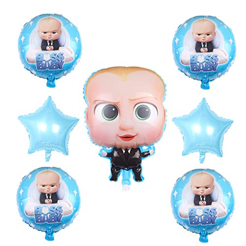 7 Pcs baby boss Balloons Party Supplies,18 Inch Large Foil Balloons For baby boss Theme Birthday Party ()