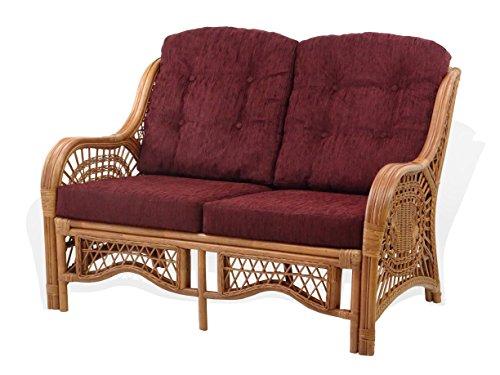 (Malibu Lounge Loveseat Rattan Wicker Handmade w/Dark Brown Cushion, Colonial)