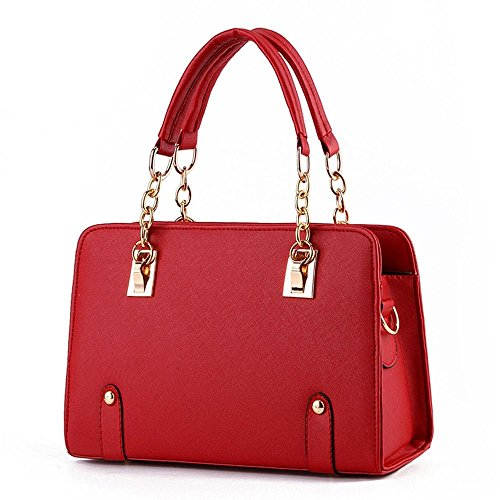 Desklets Womens PU Leather Fashionable Tote Bags Top Handle Handbag(Red)