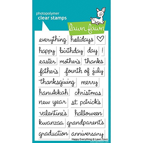 Lawn Fawn - Clear Acrylic Stamps - Happy Everything (Lawn Fawn Acrylic Stamps)