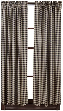 VHC Brands Classic Country Primitive Window Check Blue Scalloped Short Curtain Panel Pair