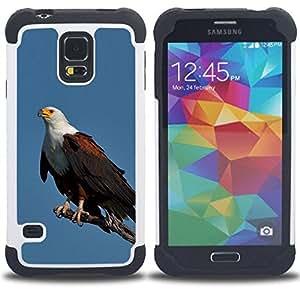 - eagle blue bird feathers black American/ H??brido 3in1 Deluxe Impreso duro Soft Alto Impacto caja de la armadura Defender - SHIMIN CAO - For Samsung Galaxy S5 I9600 G9009 G9008V